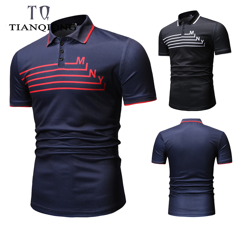 2019 New Fashions Brands Polo Shirt Men Stripe Short Sleeve Slim Fit Summer Collar Shirt Polos Boys Casual Mens Clothing