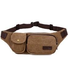 Фотография New Retro Men Waist Bag for Men Women Fanny Canvas Chest Pack Quality Money Belt travelling Phone Sling Bag 22x4x15 cm