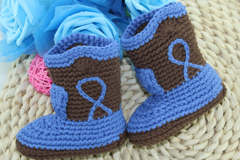 Free Shipping,Cute Handmade Knit Crochet Baby Cowboy Boots Shoes Newborn Photo Prop New - Brown/blue