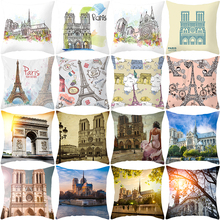 home textile cushion cover with Paris topic wholesales 45*45cm square shape decorative cushion case недорого