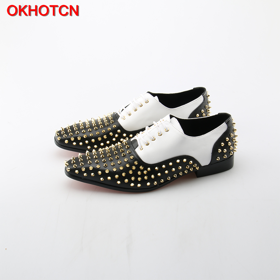 OKHOTCN Men leather shoes with silver rivet Embellished Breathable Cozy Casual style men loafers Lace Up flats Driving Shoes 2017 new spring imported leather men s shoes white eather shoes breathable sneaker fashion men casual shoes