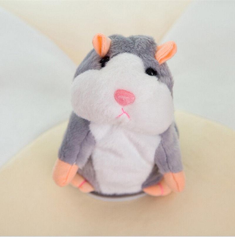 Мода США говорящий хомяк повторяет то, что вы говорите плюшевый хомяк повторяет кукла игрушка ребенок подарок - Цвет: Gray 18cm nod talk