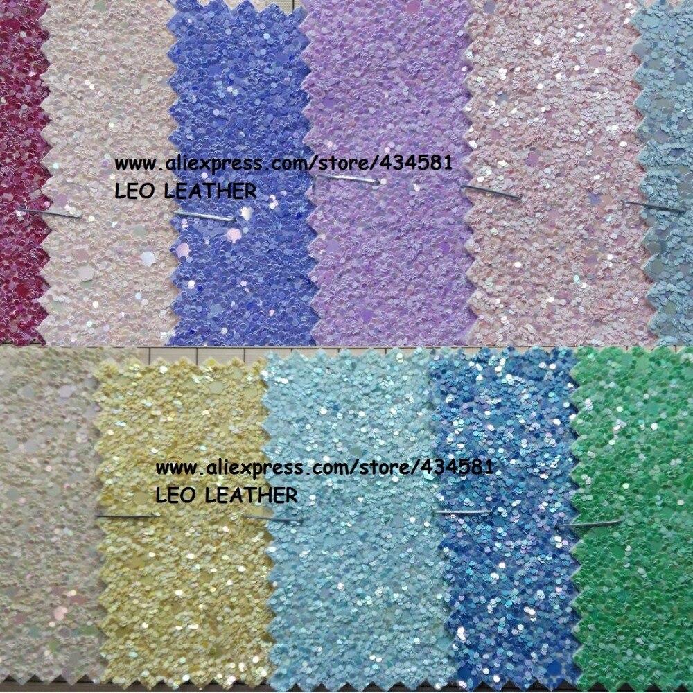 LEO Synthétique En Cuir Faux Cuir Tissu Glitter Chunky glittle en cuir pour Couture BRICOLAGE Tissu En Cuir P719