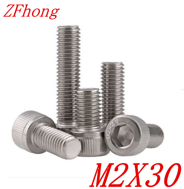 1000PCS DIN912 M2*30 Stainless Steel 304 Hexagon Hex Socket Head Cap Screw din912 304 stainless steel screw hex socket smooth cup head cylindrical head three combination m2 5 m3 m4 m5 m6 screw washer