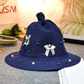 2016 зимой дети очаровательны детка шляпа жемчуг лук указал шляпу тканые шляпа оптовая Корейских детей прилив