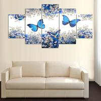 Canvas Painting Poster Wall Picture For Living Room Wall Art 5 Panel Blue Butterfly Home Decor