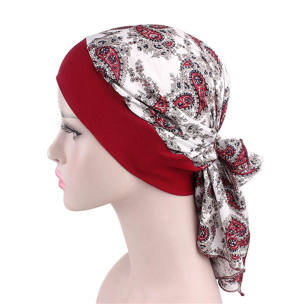 1 Pc Fashion Bloemen Hoofddoek Vrouwen Moslim Stretch Tulband Hoed Piraat Headwraps Elastische Slapen Hoed Motorkap Dames Hijabs