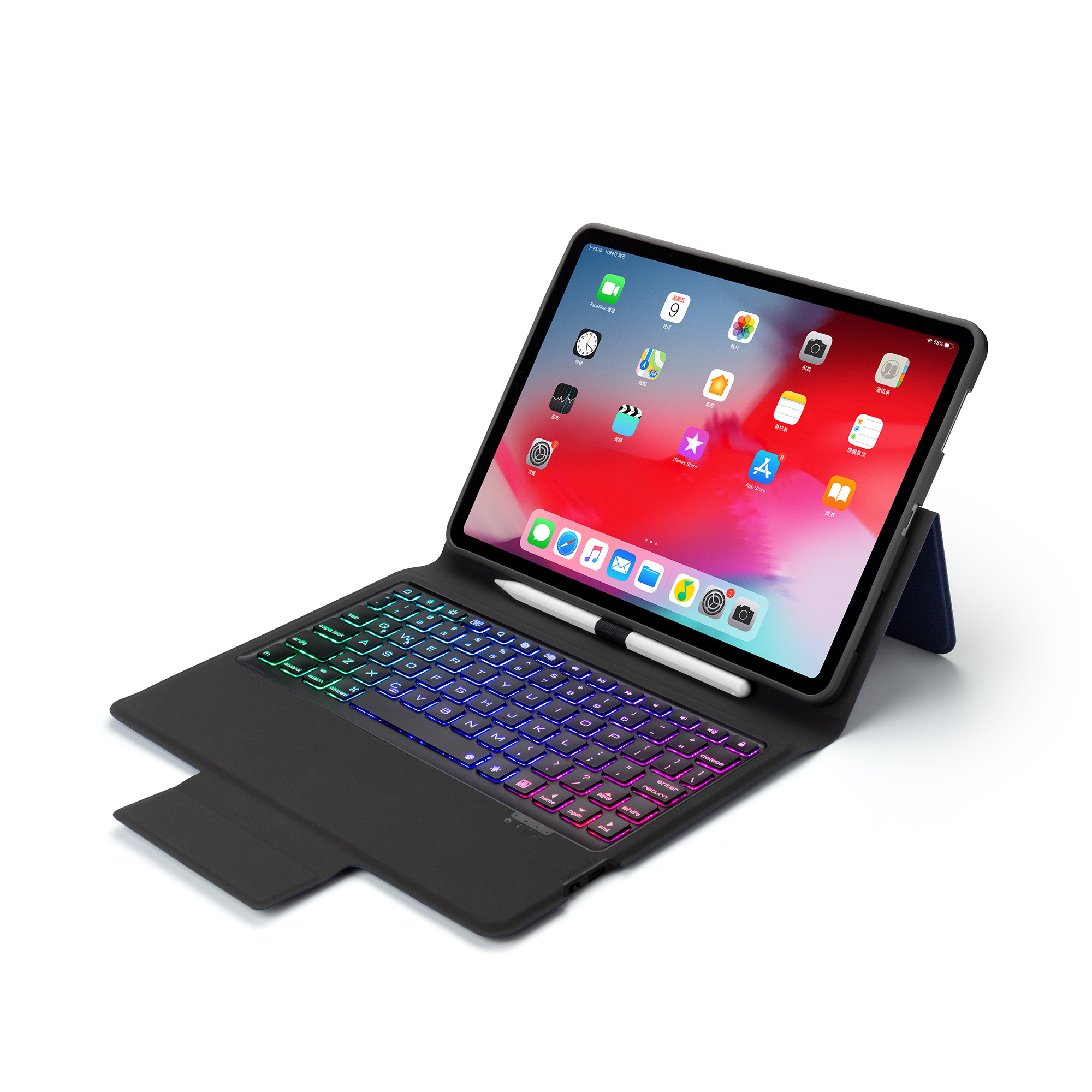 Sans fil Bluetooth clavier cuir étui pour ipad Pro 11 pouces 2018 avec rétro-éclairage LED coloré