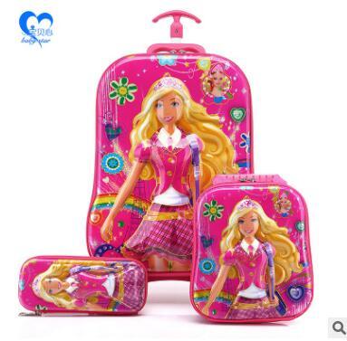 Kids Rolling Bag 6D EVA girls Boys trolley Bag For School Cartoon Childrens Travel Wheeled School Bag With Lunch Backpack