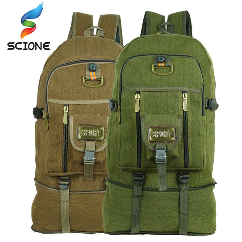 79c2b6e8b9 50L large Capacity Outdoor Sports Backpack High Quality Canvas Travel  Rucksack Heavy Duty Bag Mountaineering BackPack