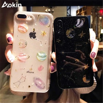 Aokin Luxury Glitter Stars Case For iPhone 7 6 6s 8 Plus Girly Soft Silicon TPU Back Cover For iPhone X 10 5s SE Coque Flamingo iPhone