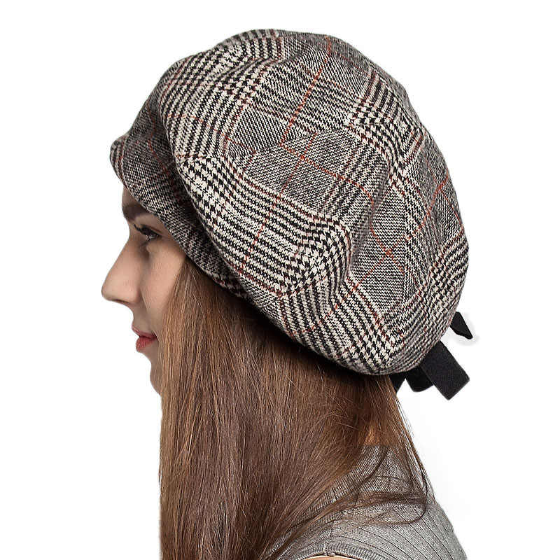 ... FS French Artist Beret Hat For Women Female Winter Fashion Black Blue  Brown Plaid Wool Thick ... 103fbc7e17d