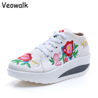 Veowalk Cotton Floral Embroidery Women S Fashion Canvas Flat Platforms Lace Up Ladies Casual Comfort Walking