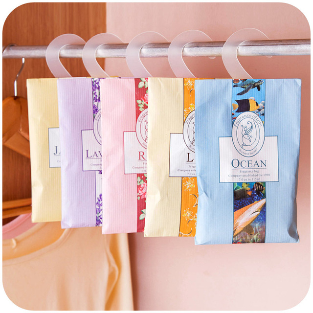 5 Pcs Lot Best Quality Natural Perfume Wardrobe Hanging Scent Bags Sachet Bag Pest
