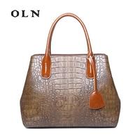 OLN 2018 Luxury Brand Design Women handbag Large capacity fashion Crocodile Women's Shoulder bag messenger bags Office bag