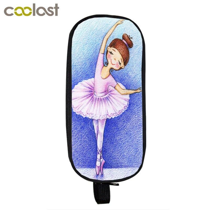 Ballet Dancing Girls Cosmetic Cases Pencil Holder Children School Supplies Bag Funny Stationery Kids Makeup Bags Boys Girls Case все цены