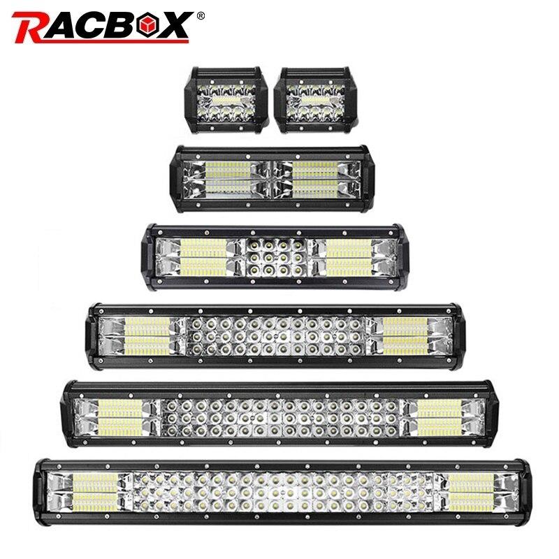 RACBOX 4 7 10 12 18 20 23 Inch Triple Row LED Light Bar Combo 12V 24V Car Truck 4WD OffRoad SUV ATV UTV Boat LED Driving Lamp