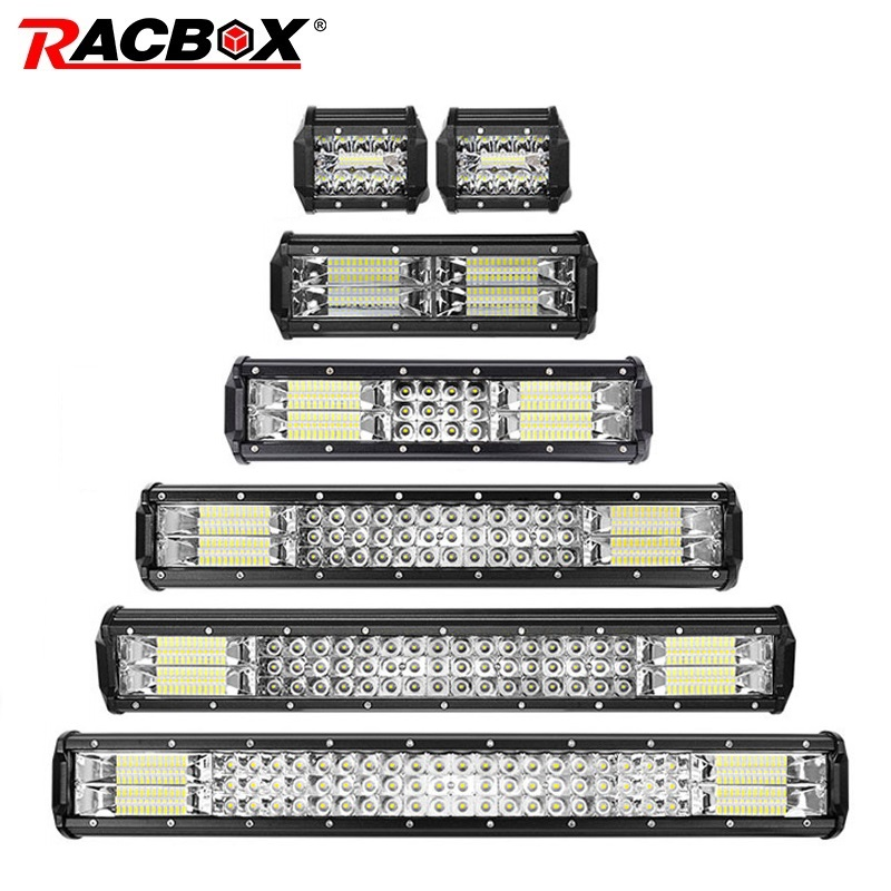 RACBOX 4 7 10 12 18 20 23 inch Triple Row <font><b>LED</b></font> <font><b>Light</b></font> Bar Combo 12V 24V <font><b>Car</b></font> Truck 4WD <font><b>OffRoad</b></font> SUV ATV UTV Boat <font><b>LED</b></font> Driving Lamp image