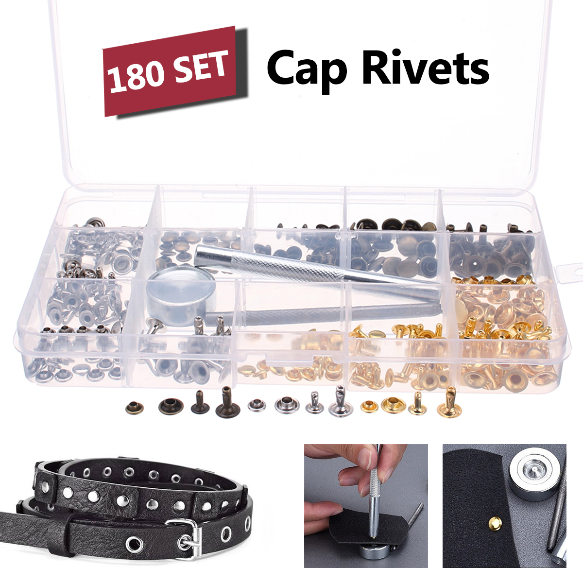 180pcs Silver Gold Metal Single Cap Rivet Set Tubular Studs Fixing Tool Kit For Leather Belts DIY Crafts Repairing Tool Sets