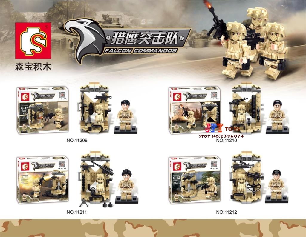 Police Commandos Counter Strike Weapon Base BattleField Marine Military Model Building Blocks Brick Toys speelgoed