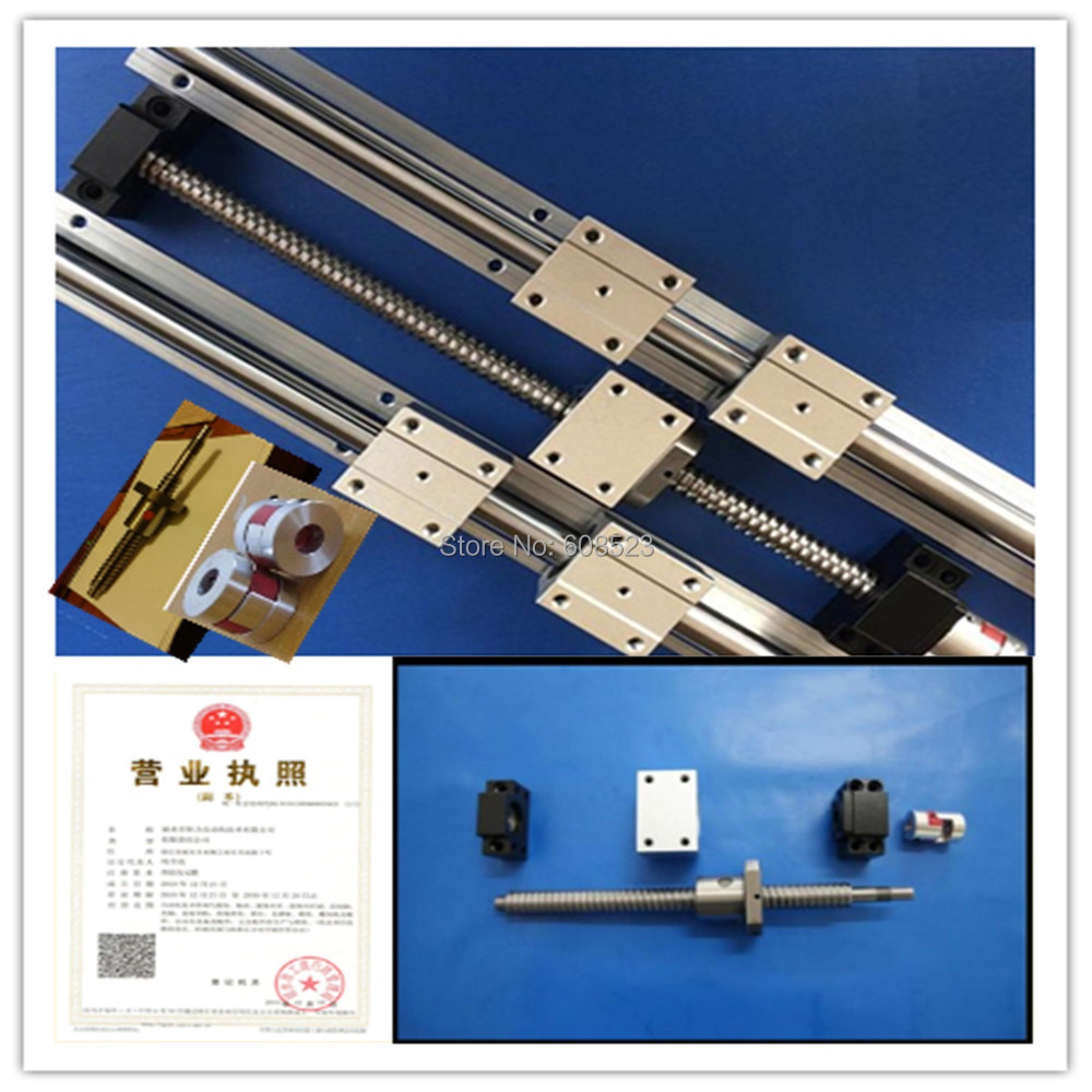 6set  linear guideway Rail  3 ballscrews balls screws 1605- 200/500/500mm + BK12 BF12 +3 couplings 6 sets linear guideway rail sbr16 300 700 950mm 3 ballscrews balls screws 1605 350 750 1000mm 3 bk12 bf12 3 couplings