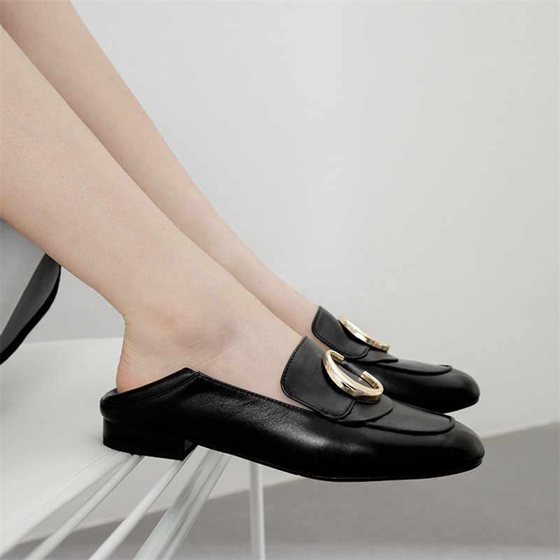 FEDONAS คลาสสิกรอบ Toe รองเท้าส้นสูงผู้หญิงปั๊มตื้น Slip 2019 ฤดูใบไม้ผลิฤดูร้อนหนังแท้รองเท้าผู้หญิง Loafers