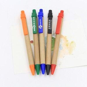 Image 5 - 100 יח\חבילה נייר כדור עט קידום מכירות עט ECO משלוח חינם קליפ פלסטיק Eco כדור עט נייר