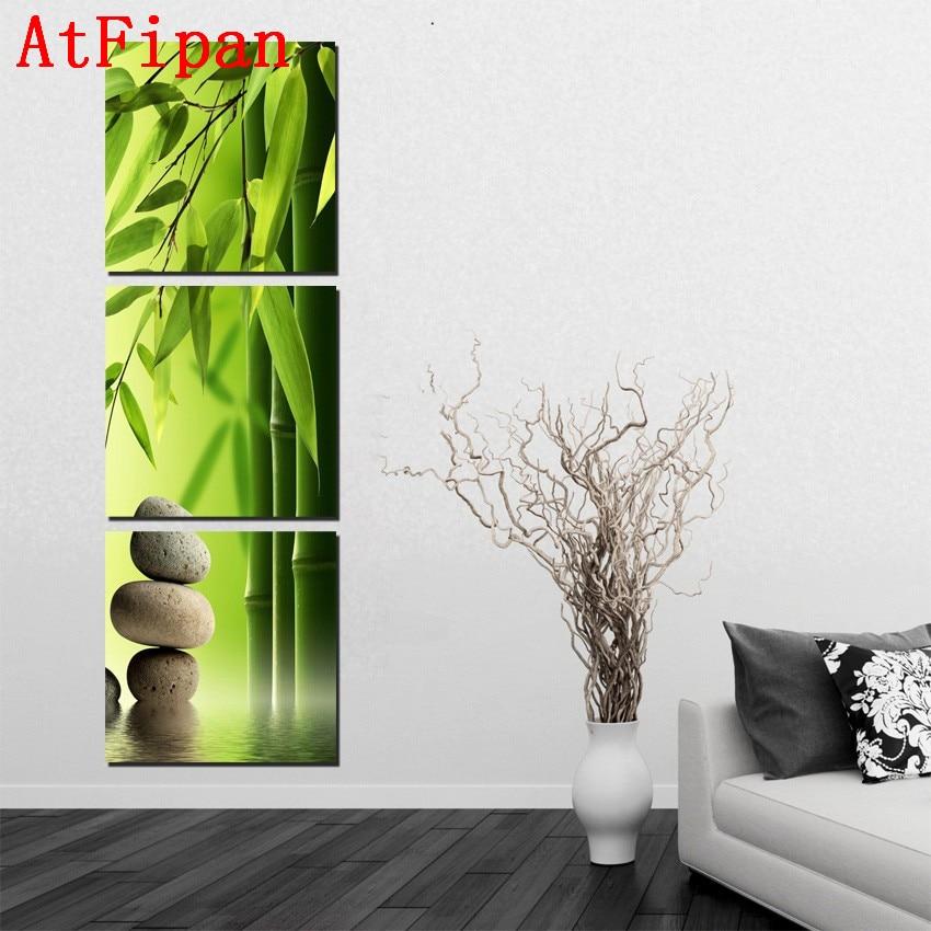 AtFipan 3 P Bambus Malerei Feng Shui Leinwand Landschaft Wand Bilder Fr Wohnzimmer Wohnkultur Modulare
