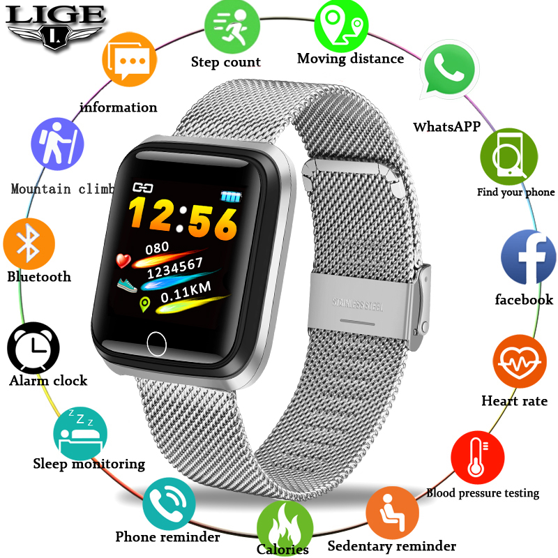 2019 LIGE New Men Smart Sport Bracelet Women Fitness Tracker Pedometer Blood Pressure Heart Rate Monitor Waterproof Smart Watch