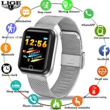 LIGE Smart Bracelet Women Headset Health Monitor Heart Rate / Blood Pressure Waterproof Pedometer Lady Sports for IOS