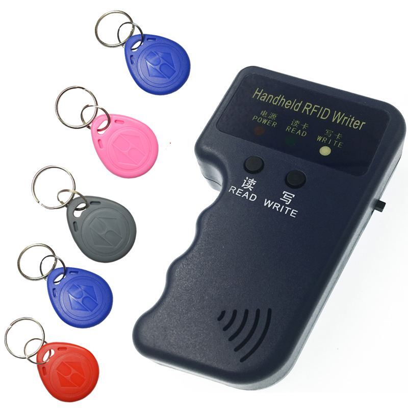 Handheld 125KHz EM4100 RFID Copier Writer Duplicator Programmer Reader + 5pcs EM4305 Rewritable ID Keyfobs Tags Card T5577 5200 leshp handheld 125khz em4100 rfid copier writer duplicator programmer reader 20000 times writer for em4305 t5577 cet5200 en4305