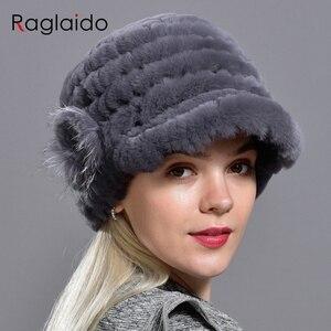 Image 4 - Raglaido Tavşan Kürk Kap Şapkalar Kadınlar Kış Çiçek Gerçek Rex Kürk Şapka Elastik Beanies Sıcak Moda Bayan Kar Şapka LQ11205