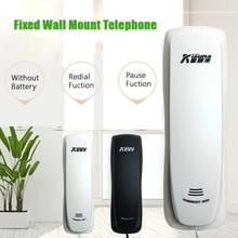 Проводной телефон для дома в отеле, телефон с функцией отключения звука и повторного набора, пауза, мини-телефон, прикроватный, настенный, с батареей, стационарный телефон, черный, белый
