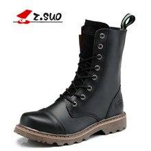 Z. suo/натуральная кожа мужские Армейские сапоги мужские мотоциклетные охоты Повседневная прогулочная обувь Брэд стильный дизайн с высоким берцем на плоской подошве