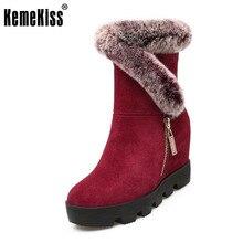 Kemekiss Для женщин из натуральной кожи на танкетке Сапоги и ботинки для девочек зимние ботинки на меху внутри каблук Зимняя обувь до середины икры Botas Для женщин обувь Размер 34–39