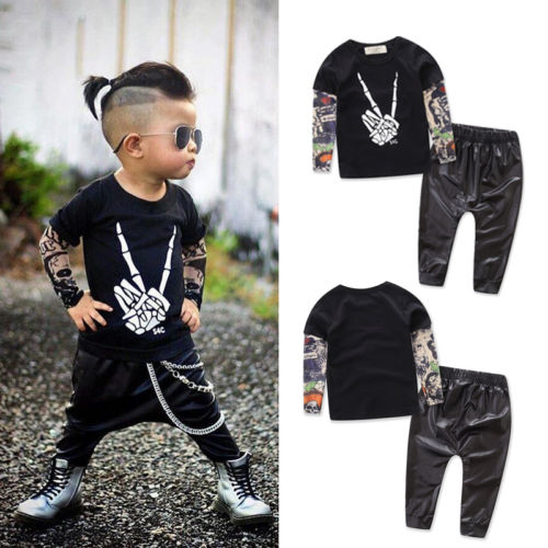cool baby boys punk sleeve t shirt tops leather pants. Black Bedroom Furniture Sets. Home Design Ideas