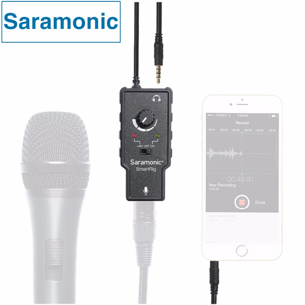 Saramonic Smartrig XLR Microphone Preamplifier Audio Adapter with Phantom Power for Iphone7 6 5 ipad ipod itouch IOS Devices