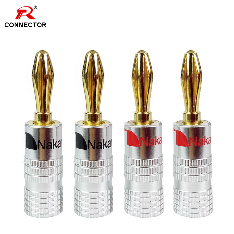 4pcs Banana Connector 4mm Speaker Banana Plugs 24K Copper Gold Plated 4mm Banana Jack Match With 4mm Binding Post
