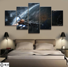 5 Pieces EVE Cosmic Warfare Game Poster Modern Wall Art Decorative Modular Framework Picture Canvas HD Printed One Set Painting