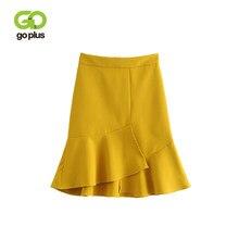 d3e7233bca GOPLUS Ruffles Hem High Waist Mini Skirts Sexy Yellow Black Mermaid Skirt  Pencil Trumpet Design Split Skirt Plus Size Summer