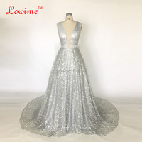 2017 New Unique Fabric Sexy V Neck Bling Dress Evening Party Long Prom Evening Dresses Simple