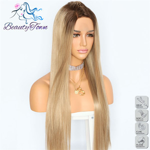 Image 2 - BeautyTown Ombre Brown Straight Heat Resistant Hair Women Wedding Party Halloween Present Synthetic Lace Front Daily Makeup Wigs