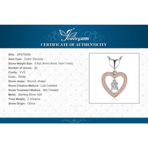 Image 5 - JPalace Heart Gold Silver Pendant Necklace 925 Sterling Silver Choker Statement Necklace Women Silver 925 Jewelry Without Chain