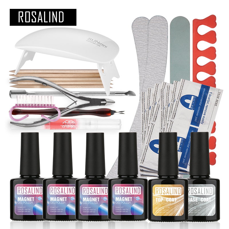 ROSALIND Aimant Chat Yeux UV Gel Kit Soak-off Gel Polish Gel Nail Kit Nail Art Tools Sets Kits Manucure Set Professional Nail Gel