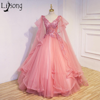 Stylish Tiered Tulle Flowers Prom Dresses with Capes V Neck Appliques Beads Fairy Bridal Gowns Custom Engagement Formal Dress