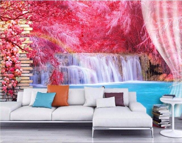 Custom photo 3d wallpaper room mural Red reed waterfall swan ...