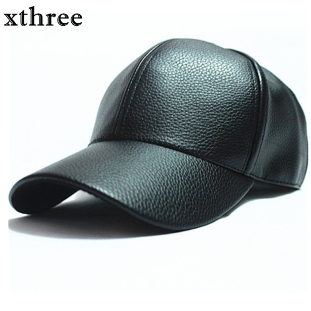 xthree winter PU Leather Baseball Cap Biker Trucker snapback Hats For Men  women hats and caps wholesale 85cbc0012a9