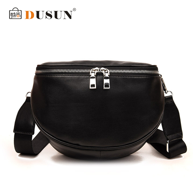 DUSUN 2018 Casual Waist Bag Women Multifunctional Classic PU Leather Fanny Pack Bags Luxury Black Hight Quality Zipper Pillow