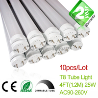 Free Shipping Dimmable 10pcs/Lot 4ft T8 LED Fluorescent Tube Light 1200mm 18W 1650LM CE & RoHs 2 Year Warranty SMD2835 Epistar