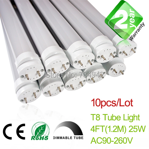 Free Shipping Dimmable 10pcs/Lot <font><b>4ft</b></font> <font><b>T8</b></font> <font><b>LED</b></font> Fluorescent <font><b>Tube</b></font> Light 1200mm 18W 1650LM CE & RoHs 2 Year Warranty SMD2835 Epistar image